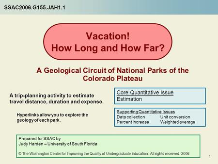 Vacation! How Long and How Far? A Geological Circuit of National Parks of the Colorado Plateau A trip-planning activity to estimate travel distance, duration.
