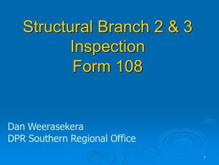 Structural Branch 2 & 3 Inspection Form 108