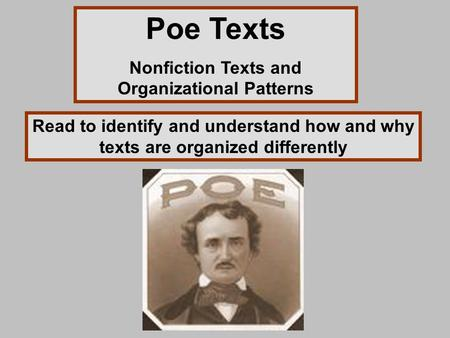Nonfiction Texts and Organizational Patterns