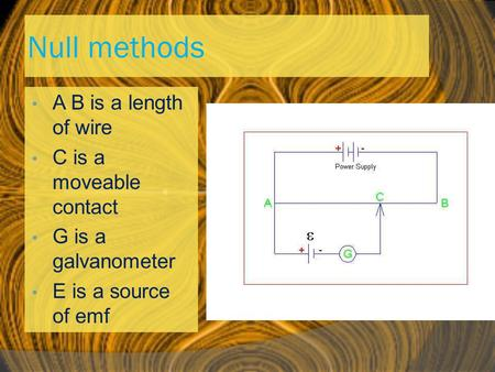 Null methods A B is a length of wire C is a moveable contact G is a galvanometer E is a source of emf.