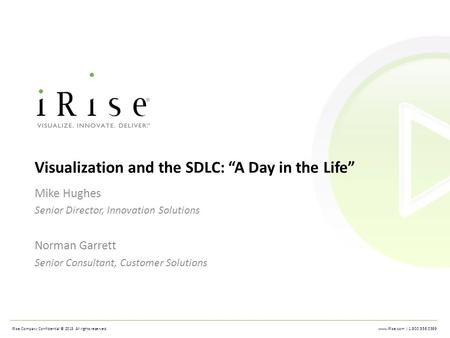 | 1.800.556.0399 iRise Company Confidential © 2013 All rights reserved. 1 1
