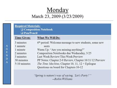 Quote Monday March 23, 2009 (3/23/2009) Required Materials:  Composition Notebook  Pen/Pencil Time Given:What We Will Do: 3 minutes 1 minute 2 minutes.