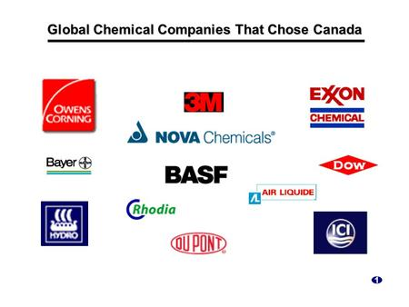 Global Chemical Companies That Chose Canada 1. World's Largest Homogeneous Chemical Market North American… – chemical production of $430 billion in 1997.