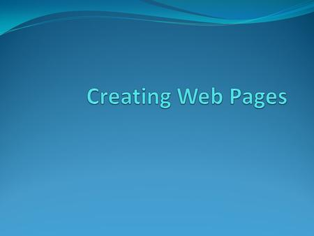 Writing web pages