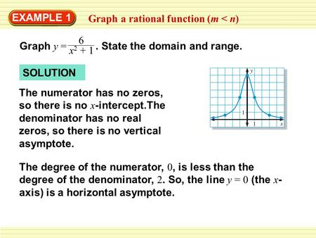 EXAMPLE 1 Graph a rational function (m < n) Graph y =. State the domain and range. 6 x 2 + 1 SOLUTION The degree of the numerator, 0, is less than the.