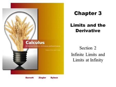 Chapter 3 Limits and the Derivative Section 2 Infinite Limits and Limits at Infinity.