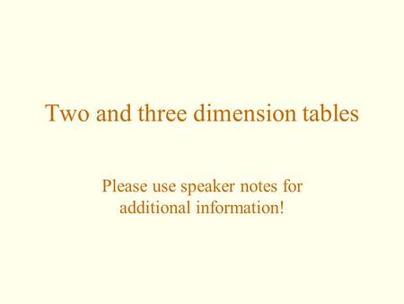 Two and three dimension tables Please use speaker notes for additional information!