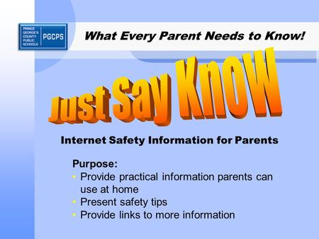 What Every Parent Needs to Know! Internet Safety Information for Parents Purpose: Provide practical information parents can use at home Present safety.