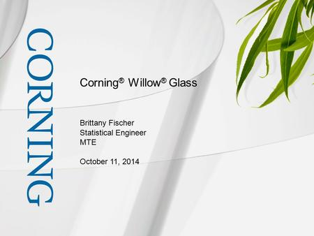 Corning ® Willow ® Glass Brittany Fischer Statistical Engineer MTE October 11, 2014.