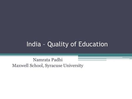 India – Quality of Education
