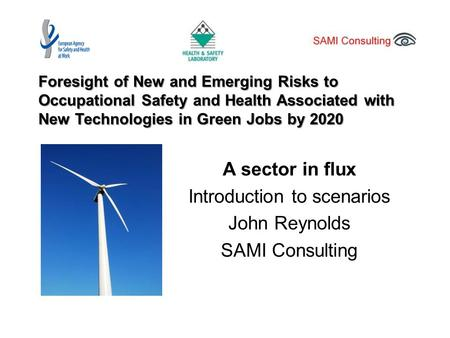 Foresight of New and Emerging Risks to Occupational Safety and Health Associated with New Technologies in Green Jobs by 2020 A sector in flux Introduction.