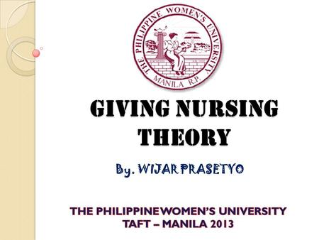Giving Nursing Theory By. WIJAR PRASETYO. BACKGROUND OF THE THEORIST Prasetyo was born on September 5, 1985 in Mojokerto, East Java Province, Indonesia.