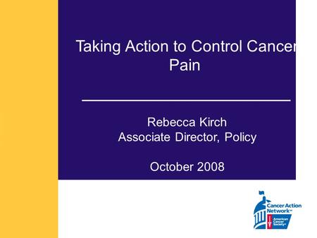Taking Action to Control Cancer Pain Rebecca Kirch Associate Director, Policy October 2008.