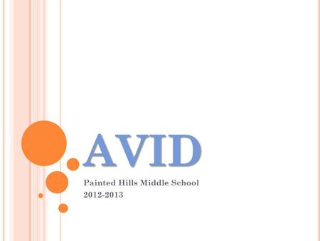 AVID Painted Hills Middle School 2012-2013. The Mission of AVID The mission of AVID is to ensure that ALL students, and most especially the least served.