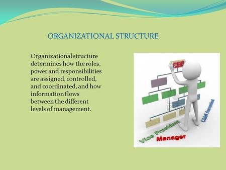 ORGANIZATIONAL STRUCTURE Organizational structure determines how the roles, power and responsibilities are assigned, controlled, and coordinated, and how.