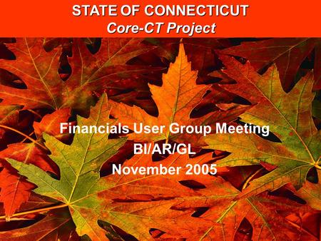 STATE OF CONNECTICUT Core-CT Project Financials User Group Meeting BI/AR/GL November 2005.