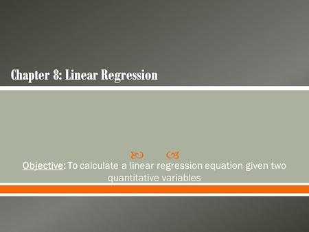 Chapter 8: Linear Regression