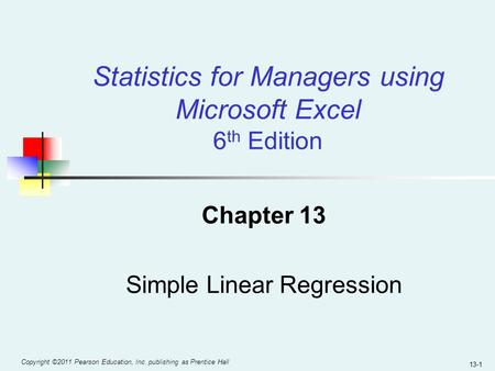Chapter 13 Simple Linear Regression