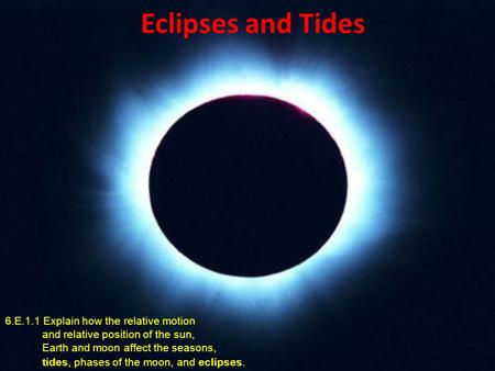 Eclipses and Tides 6.E.1.1 Explain how the relative motion and relative position of the sun, Earth and moon affect the seasons, tides, phases of the moon,