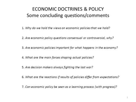 Economic policy questions