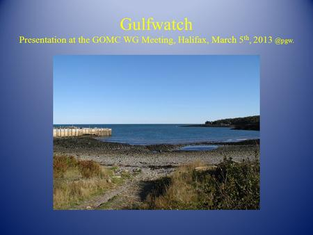 Gulfwatch Presentation at the GOMC WG Meeting, Halifax, March 5 th,