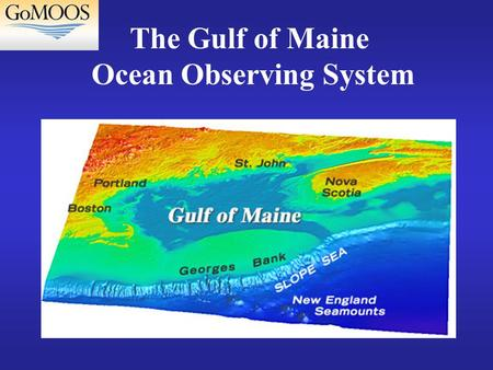 The Gulf of Maine Ocean Observing System. Technical Program Real time monitoring and forecasts of: Weather - surface ocean winds, air temperature, visibility.