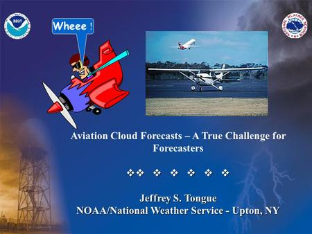 Aviation Cloud Forecasts – A True Challenge for Forecasters v       Jeffrey S. Tongue NOAA/National Weather Service - Upton, NY Wheee !