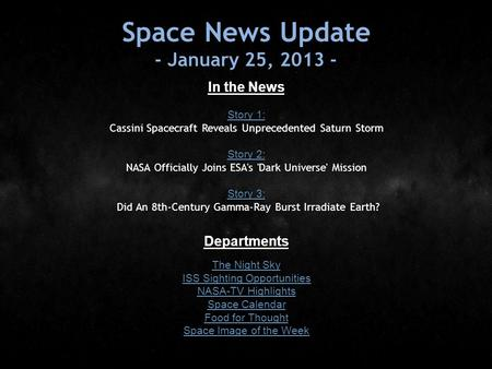 Space News Update - January 25, 2013 - In the News Story 1: Story 1: Cassini Spacecraft Reveals Unprecedented Saturn Storm Story 2: Story 2: NASA Officially.