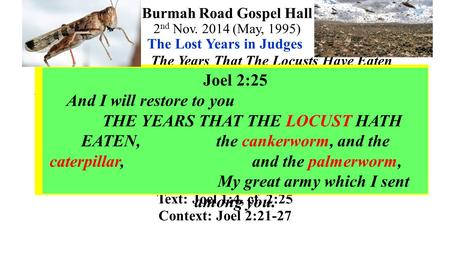Burmah Road Gospel Hall 2 nd Nov. 2014 (May, 1995) The Lost Years in Judges The Years That The Locusts Have Eaten The Lost Years in Judges refer to the.