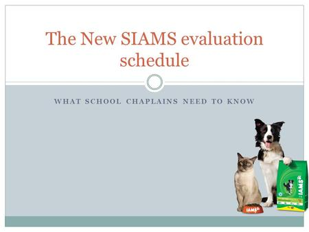 WHAT SCHOOL CHAPLAINS NEED TO KNOW The New SIAMS evaluation schedule.
