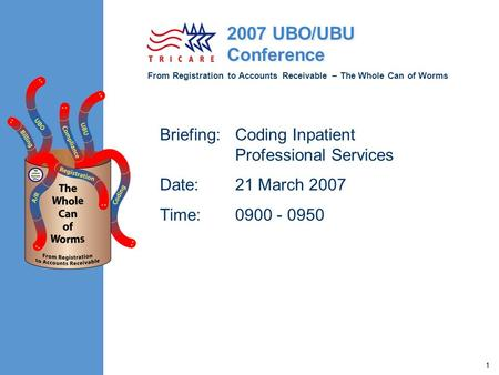 From Registration to Accounts Receivable – The Whole Can of Worms 2007 UBO/UBU Conference 1 Briefing:Coding Inpatient Professional Services Date:21 March.