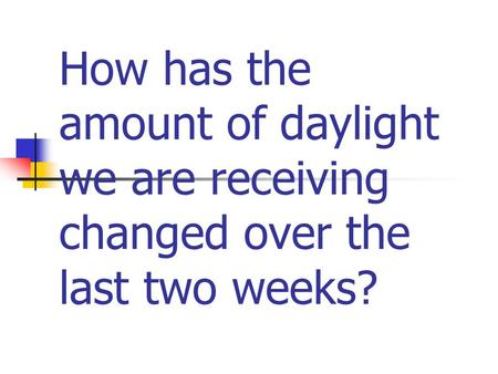 How has the amount of daylight we are receiving changed over the last two weeks?