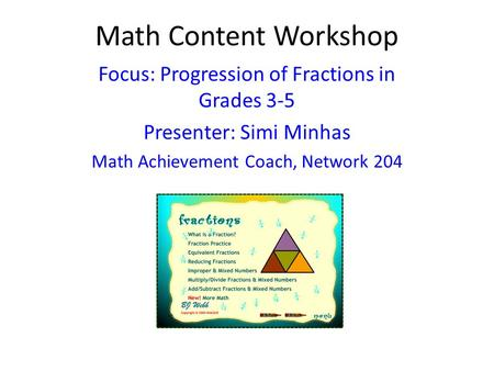 Math Content Workshop Focus: Progression of Fractions in Grades 3-5
