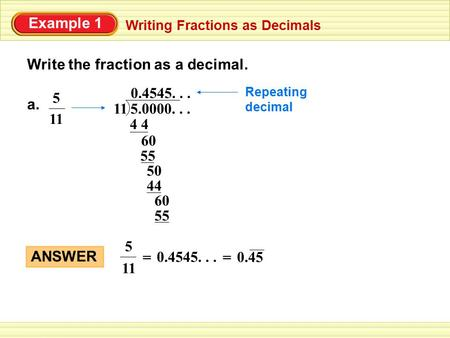 write an example of a terminating decimal