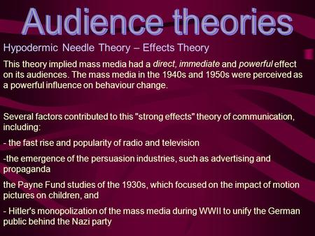 Hypodermic Needle Theory – Effects Theory This theory implied mass media had a direct, immediate and powerful effect on its audiences. The mass media in.