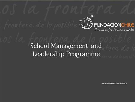 School Management and Leadership Programme