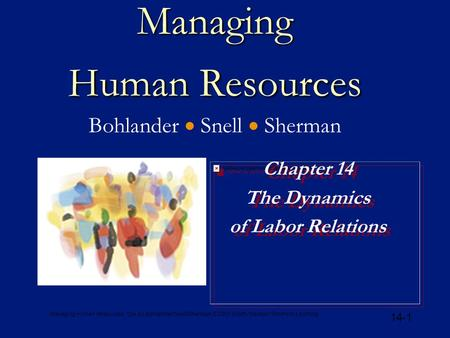 Managing Human Resources, 12e, by Bohlander/Snell/Sherman © 2001 South-Western/Thomson Learning 14-1 Managing Human Resources Managing Human Resources.