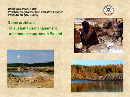 Barbara Radwanek-Bąk Polish Geological Institute-Carpathian Branch Polias Geological Survey Some problems of sustainable management of mineral resources.