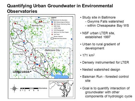 Quantifying Urban Groundwater in Environmental Observatories Study site in Baltimore - Gwynns Falls watershed - within Chesapeake Bay WS NSF urban LTER.