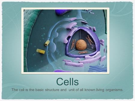 Cells The cell is the basic structure and unit of all known living organisms.