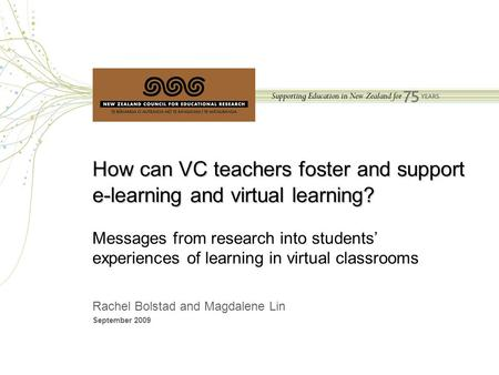 How can VC teachers foster and support e-learning and virtual learning? How can VC teachers foster and support e-learning and virtual learning? Messages.