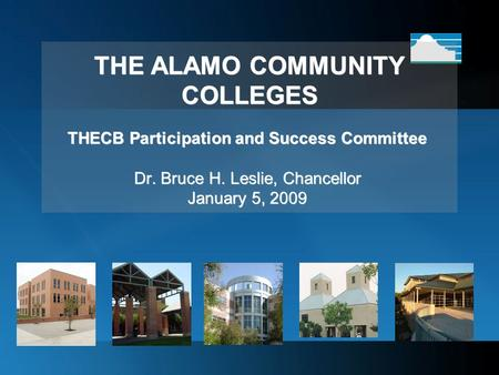 THE ALAMO COMMUNITY COLLEGES THECB Participation and Success Committee Dr. Bruce H. Leslie, Chancellor January 5, 2009.
