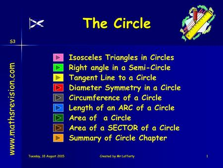 S3 Tuesday, 18 August 2015Tuesday, 18 August 2015Tuesday, 18 August 2015Tuesday, 18 August 2015Created by Mr Lafferty1 Isosceles Triangles in Circles Right.