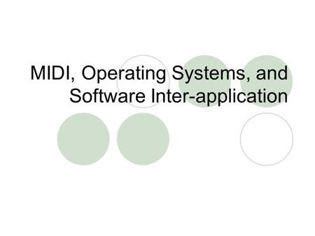 MIDI, Operating Systems, and Software Inter-application.