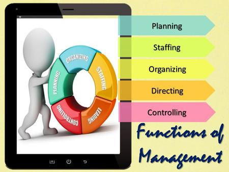 Planning Staffing Organizing Directing Controlling Functions of Management.