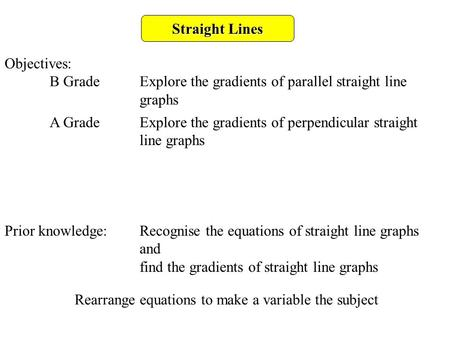 Straight Lines Objectives: B GradeExplore the gradients of parallel straight line graphs A GradeExplore the gradients of perpendicular straight line graphs.