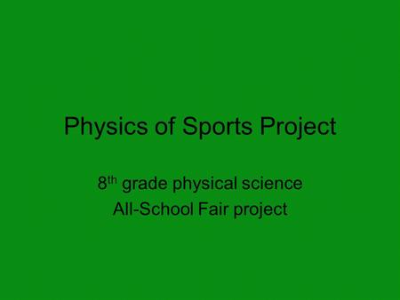 Physics of Sports Project