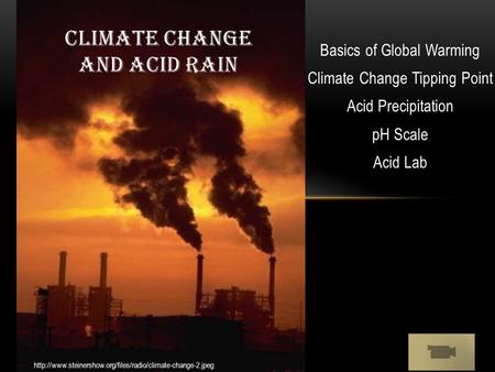 Basics of Global Warming Climate Change Tipping Point Acid Precipitation pH Scale Acid Lab CLIMATE CHANGE AND ACID RAIN
