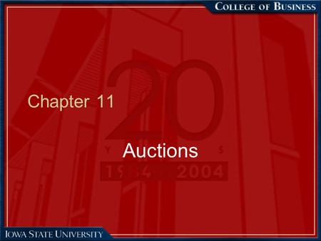 Chapter 11 Auctions.