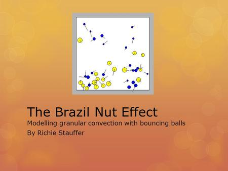 The Brazil Nut Effect Modelling granular convection with bouncing balls By Richie Stauffer.